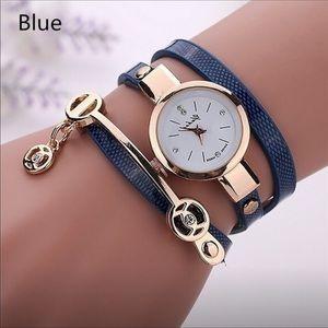 Blue wrap bracelet watch
